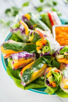 Rainbow Spring Rolls with Sweet Chili Mango Sauce | Get Inspired Everyday!