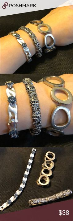 Bracelet Bundle includes Trifari and Lia Sophia❗️ Silver and blue gems Trifari vintage bracelet  Silver/black silver stretchable Lia Sophia vintage bracelet  And a silver stretchable bracelet  All used but in great condition!! Slight signs of wear since this is a used/ vintage item but no major damage No low ball offers priced to sell! Trifari Jewelry Bracelets