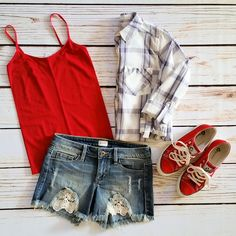 OOTD- spring fashion, lace inlay shorts, denim shorts, cut off denim shorts, red camisole, plaid button up, plaid top by Jane Divine Boutique www.janedivine.com