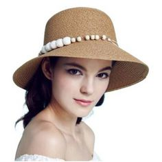 Beaded straw sun hat for women foldable summer beach hats ba7bfc282ae7