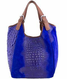 Italian Leather Handbags Etasico Lana Trapeze Cobalt Blue Croco ...