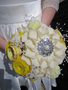 READY TO SHIP - Yellow and Antique White Felt, Yarn, and Paper Flower Bridal Bouquet