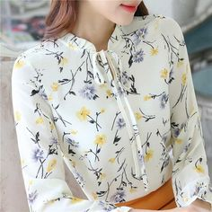 Blusas Women Tops Blouses Ladies Chiffon Long Sleeve Floral Shirt Women Slim Camisas Mujer Plus Size Chemise Femme White Black