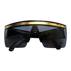 5fd842e23d83 GIANNI VERSACE black shield sunglasses with gold trim ❤ liked on Polyvore  featuring accessories