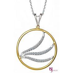 "14k White and Yellow Gold Diamond Encrusted 16"" Circle Pendant"
