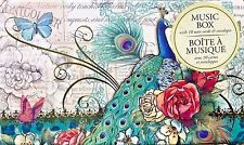 pUNCH sTUDIO Keepsake Music Box Set of 10 Note Cards - Blue Peacock Floral
