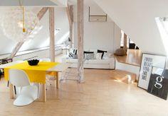Blog wnętrzarski - design, nowoczesne projekty wnętrz: Mieszkanie na poddaszu (strychu starej kamienicy zaprojektowane przez Sabinę Królikow...