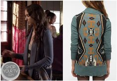 Shop Your Tv: Pretty Little Liars: Season 3 Episode 18 Spencer's Blue Aztec Cardigan Pretty Little Liars Seasons, Pretty Little Liars Fashion, Pll Outfits, Cute Outfits, Izzie Stevens, Greys Anatomy Characters, Aztec Cardigan, Meredith Grey, Warm Sweaters