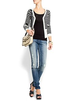 striped cardigan with holey jeans and heels :)