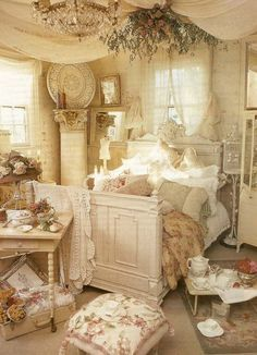 Fancy Bedroom Decorating in Shabby Chic Style.                                                                                                                                                                                 More