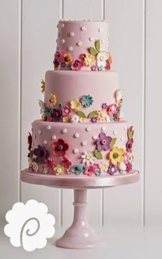 Candy Pop Flower Cake - cake by Poppy Pickering Fairy Birthday Cake, Birthday Cake With Flowers, Baby Birthday Cakes, Bright Birthday Cakes, Girl Birthday, Cricut Cake, Fondant Cakes, Cupcake Cakes, Candy Pop