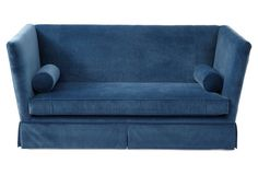 Carlisle Skirted Sofa, Peacock Velvet - One Kings Lane - Brands One Kings Lane Teal Sofa, Hardwood Plywood, Bolster Pillow, Pillows, Wrap Around Skirt, Affordable Furniture, Furniture Ideas, Modern Furniture, Tufted Sofa