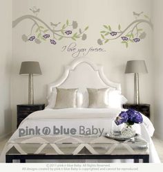 Two lovely branches with Lettering Decal - Vinyl Wall Sticker. $83.00, via Etsy.