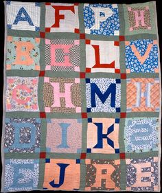 Alphabet Quilt, circa 1930-1950, in the collection of the International Quilt Study Center & Museum at the University of Nebraska-Lincoln