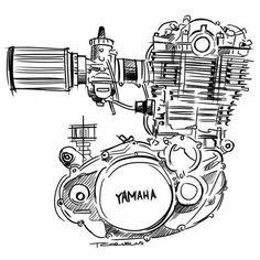 Motor Bike Illustration Cafe Racers 30 Ideas For 2019 Bike Tattoos, Motorcycle Tattoos, Motorcycle Logo, Motor Yamaha, Yamaha Bikes, Motorcycles, Yamaha Logo, Yamaha Engines, Bike Sketch
