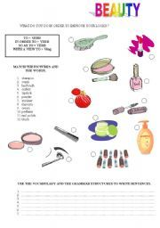 Hair and beauty: vocabulary and parts of speech ...