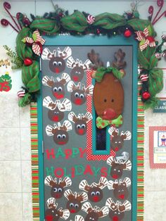 Christmas Door Decor-with our staff names on the reindeer....cute idea for work