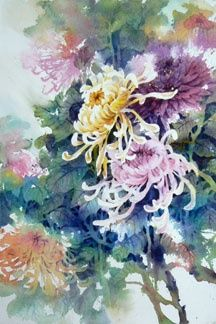 Art of Lian Quan Zhen Watercolor Watercolor Negative Painting, Watercolor Artists, Artist Painting, Watercolor Flowers, Watercolor Paintings, Watercolours, Botanical Illustration, Botanical Art, Japanese Painting