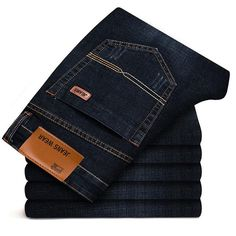 Brother Wang Brand 2018 New Men's Slim Elastic Jeans Fashion Business Classic Style Skinny Jeans Denim Pants Trousers Male 102 Moda Jeans, Lässigen Jeans, Jeans Skinny, Denim Pants, Business Fashion, Business Casual Men, Swag Style, Style Casual, Classic Style