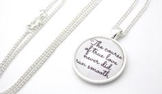 Shakespeare, The Course Of True Love Never Did Run Smooth, A Midsummer Night's Dream Quote Necklace