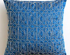 Decorative Throw Pillow Covers Accent Pillow Couch Toss 18x18 Pillow Cover Silk Embroidered Geometric Royal Blue