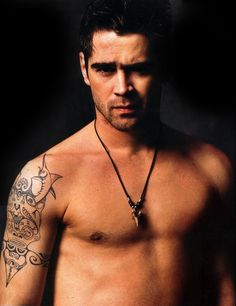 COLIN FARRELL TATTOO | Tattoo is a tribal design from Tahiti that he got when he was there.