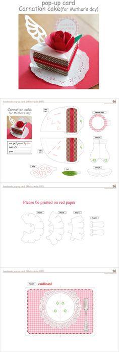 DIY Birthday cake 3D Card / Kirigami pattern
