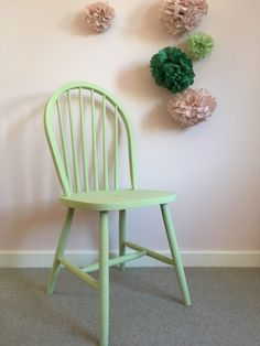 Annie Sloan Lem Lem Oxfam Chalk paint upcycle 1950s chair pink and green