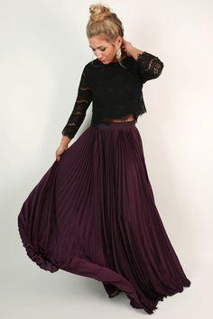 Pleat Me Pretty Maxi Skirt in Purple