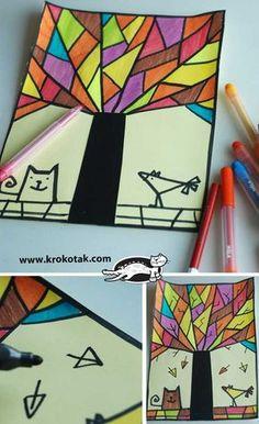 children activities, more than 2000 coloring pages September Art, Fall Art Projects, School Art Projects, Arte Elemental, 2nd Grade Art, Cubism Art, Art Activities, Children Activities, Elementary Art