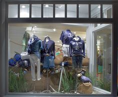 Seafaring stripes are renewed in a fresh color palette in the windows of the East Hampton Polo Store