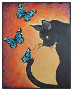 Black cat with butterflies modern PRINT of by HipHeartStudio2, $14.00   DO WANT.