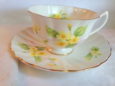 Pretty Primrose Shelley Tea Cup and Saucer, Shelley China, Shelley Atholl Shape, English Teacups, Tea Set, Shelley Tea Cups, Tea Sets