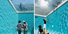 "Installation art: ""Simulacrum, Swimming Pool!"" at the 21st Century Museum of Art, Kanazawa, Japan, simulating the inside of a swimming pool"