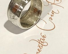 Handcrafted Morgan dollar coin ring silver, antiqued or polished finish Silver Dollar Coin, Morgan Silver Dollar, Mens Rings Etsy, Coin Ring, Mens Silver Rings, Coins, Rings For Men, Unique Jewelry, Handmade Gifts
