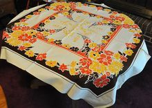 Orange Poppy Flowered Tablecloth