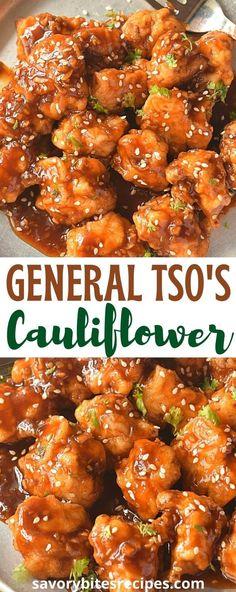 Deep Fried Cauliflower, General Tso Cauliflower, Cauliflower Dishes, Easy Cauliflower Recipes, General Tsos Tofu, General Tso Sauce, Califlower Recipes, Vegetable Recipes, Vegetarian Recipes