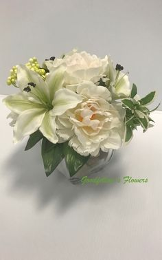 Silk Faux White Hydrangeas and White Lilies in a Glass Vase With Rounded Grey Stones White Hydrangeas, White Lilies, Grey Stone, Floral Arrangements, Glass Vase, Stones, Lily, Unique Jewelry, Handmade Gifts
