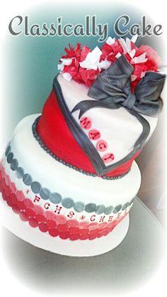 Cheer cake Cheer Birthday Party, Happy Birthday Cakes, 13th Birthday, Birthday Ideas, Cheerleading Cake, Cheer Cakes, Looks Yummy, Falcons, Amazing Cakes
