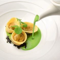 Green pea soup over hammock tortellini with black truffles would be served up nicely. #alchemyfinehome #finedining #gastronomie #theartofplating #dining by alchemyfinehome