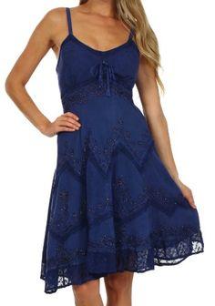 Save $54.99 on Sakkas Stonewashed Rayon Embroidered Adjustable Spaghetti Straps Mid Length Dress; only $35.00  #Sakkas