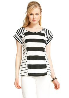 Love the mixed stripes, this would be so summer-easy with jorts or a cotton mini
