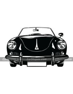 1963 PORSCHE 356 Vector Car Vector, Porsche 356, Vector Illustrations, Laser Engraving, Darth Vader, Racing, Cars, Prints, Running