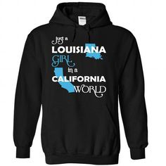(LAXanh001) Just A Louisana Girl In A California World - #sweatshirt dress #adidas sweatshirt. ORDER HERE => https://www.sunfrog.com/Valentines/-28LAXanh001-29-Just-A-Louisana-Girl-In-A-California-World-Black-Hoodie.html?68278