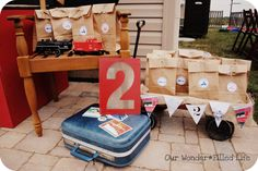 Brown paper favor bags and age display