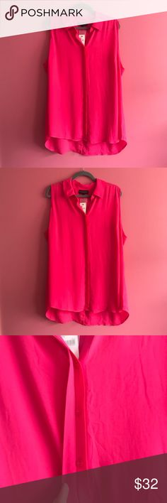 Bright pink button down tank Beautiful pink button down perfect for casual day wear, nights out, or office attire. Has a slit in the back to accommodate extra space for sitting. NWT. Lane Bryant Tops Tank Tops