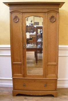 Antique Wardrobe, Armoire, English Oak Victorian Mirrored
