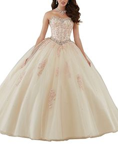 542f5b9275 Elley Womens Lace Bodice Corset Back Sweethear Neckline Tulle Ball Gown  Long Quinceanera Dress Champagne -- Read more at the image link.