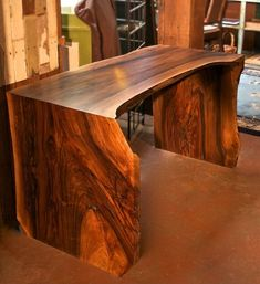 Handsome U-Shaped Slab Desk by Dalton Paull. Made from locally harvested fallen walnut tree.