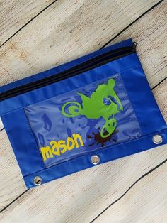 Pencil Pouch - Back To School Zippered Pencil Pouch -  DIRT BIKE Pencil Case - Vinyl Decorated Pencil Bag - 3 Ring Binder Zippered Pouch by BayBaysBoutique on Etsy